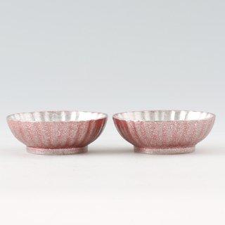 錫 小鉢菊2枚セット 漆赤仕上げ 商品番号:1300-3/名入れ・マーク入れ 不可