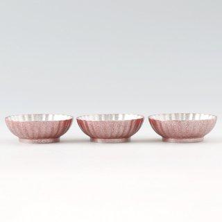 錫 小鉢菊3枚セット 漆赤仕上げ 商品番号:1300-3/名入れ・マーク入れ 不可