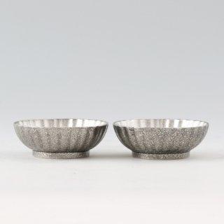 錫 小鉢菊2枚セット 漆黒仕上げ 商品番号:1300-2/名入れ・マーク入れ 不可
