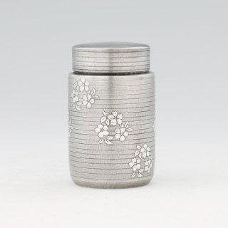 錫 茶筒 桜柄 黒漆加工 120g 商品番号:17/名入れ・マーク入れ 不可
