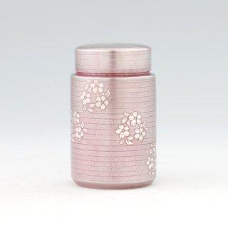 錫 茶筒 桜柄 紫漆加工 120g 商品番号:17A/名入れ・マーク入れ 不可