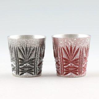 錫 切子グラス 黒・赤 2個セット 120ml 商品番号:95-96/名入れ・マーク入れ 不可