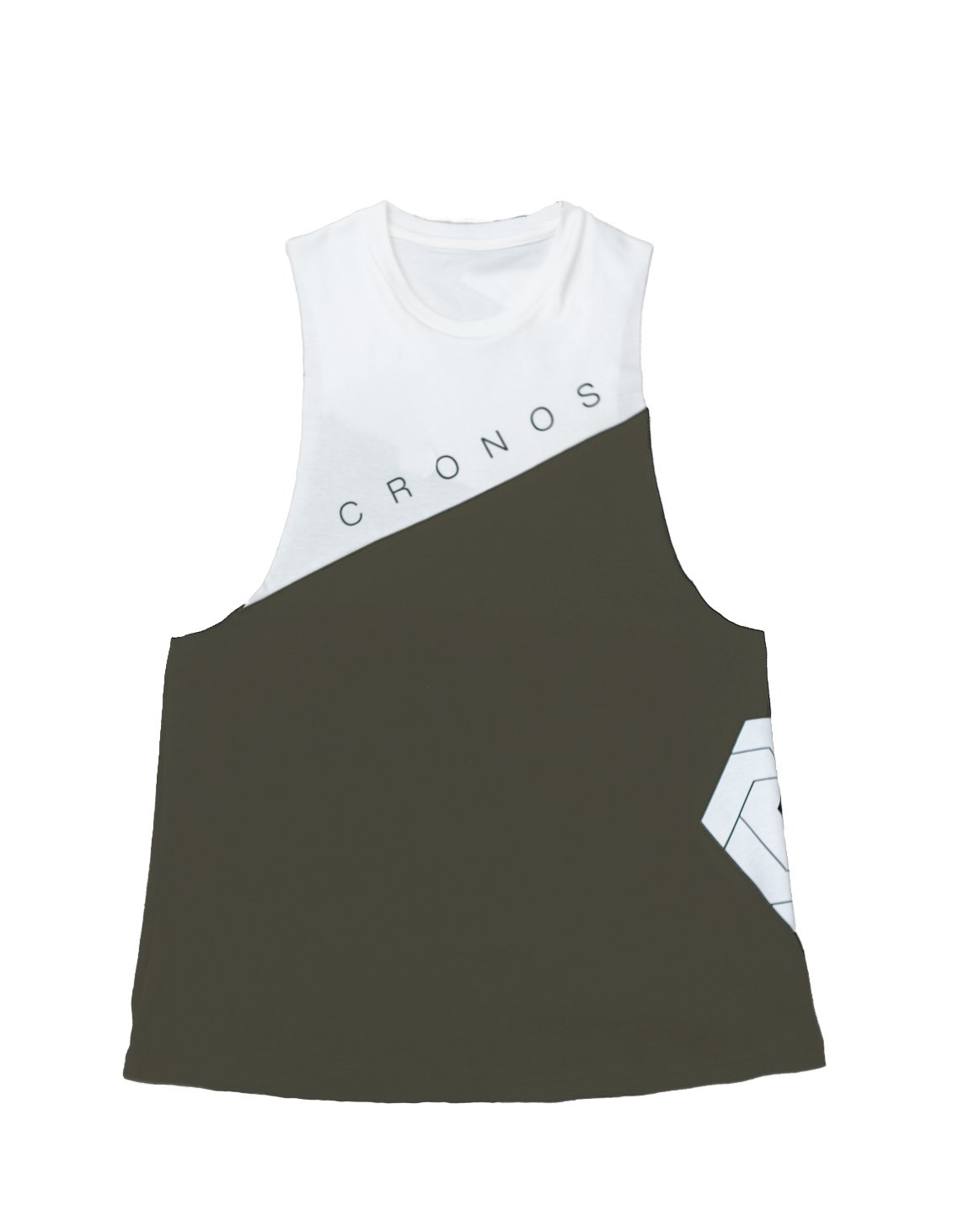 CRONOS NEW Bi-COLOR TANK TOP【KHAKI×WHITE】