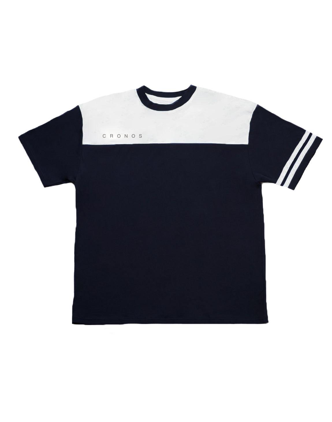 CRONOS Bi-COLOR SLEEVE LINE OVER SIZE T-SHIRTS【BLACK】