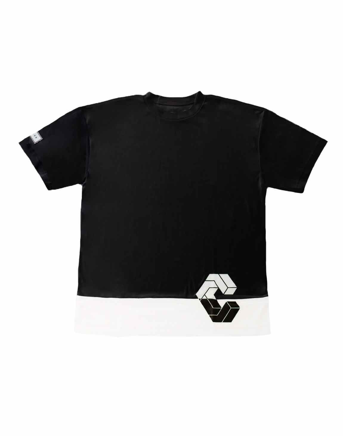 CRONOS MODE SIDE LOGO OVER SIZE T-SHIRTS【BLACK×WHITE】