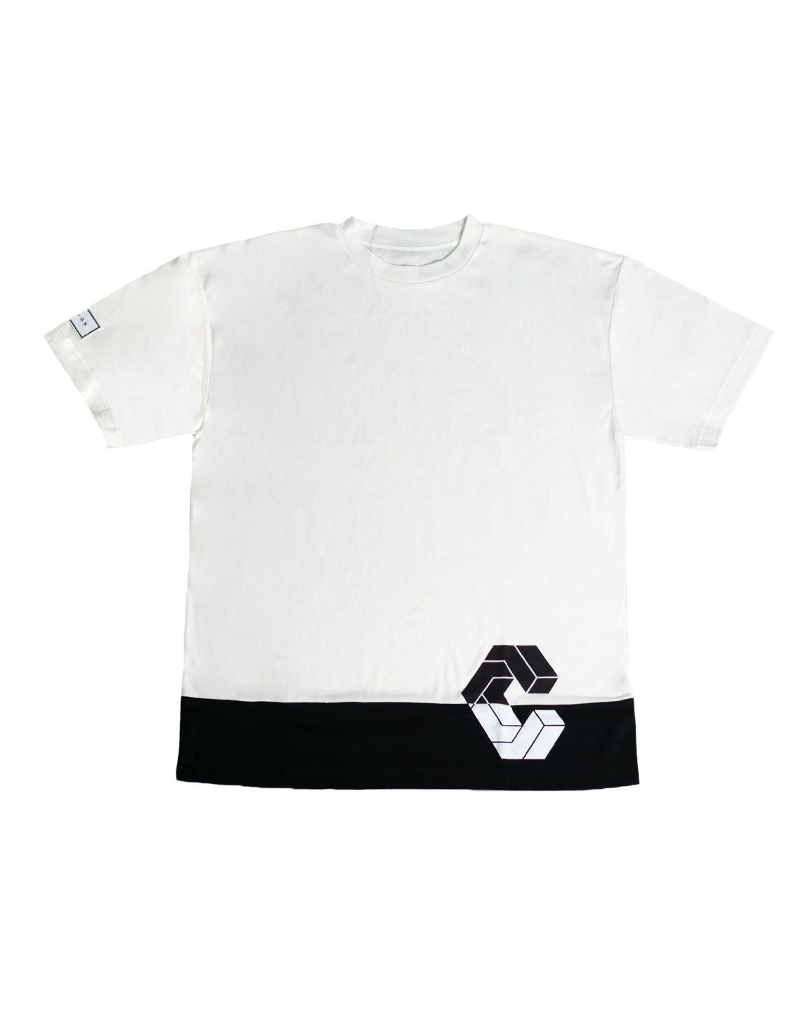 CRONOS MODE SIDE LOGO OVER SIZE T-SHIRTS【WHITE×BLACK】