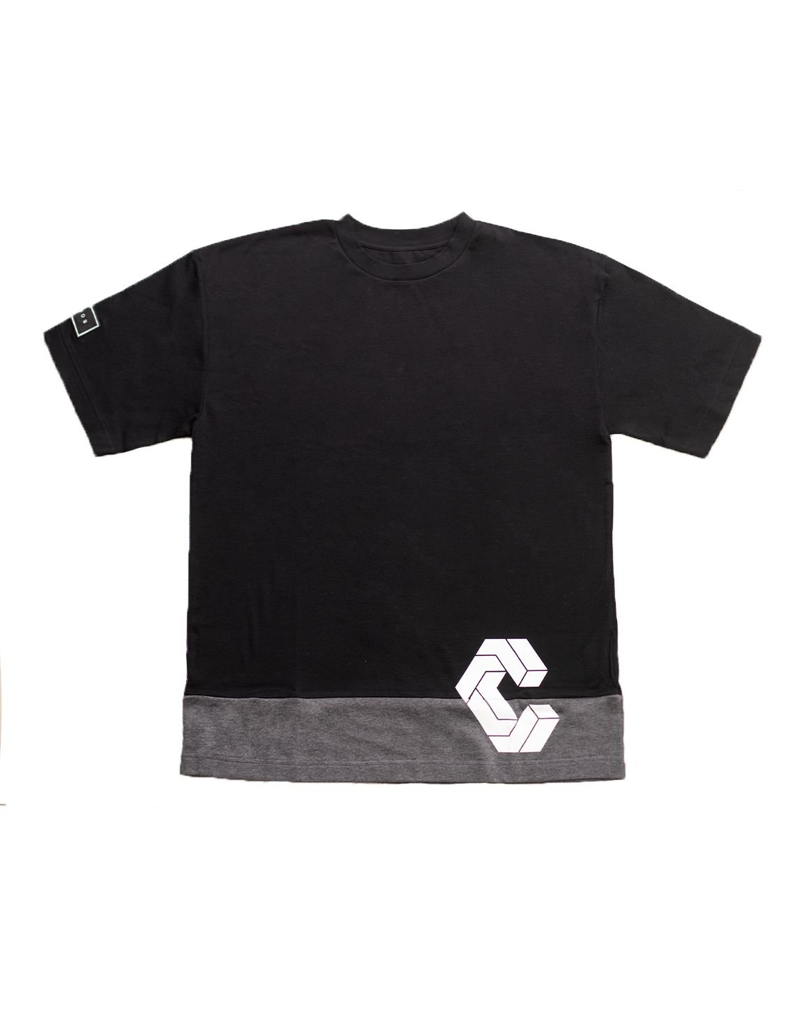 CRONOS MODE SIDE LOGO OVER SIZE T-SHIRTS【BLACK×C.GRAY】