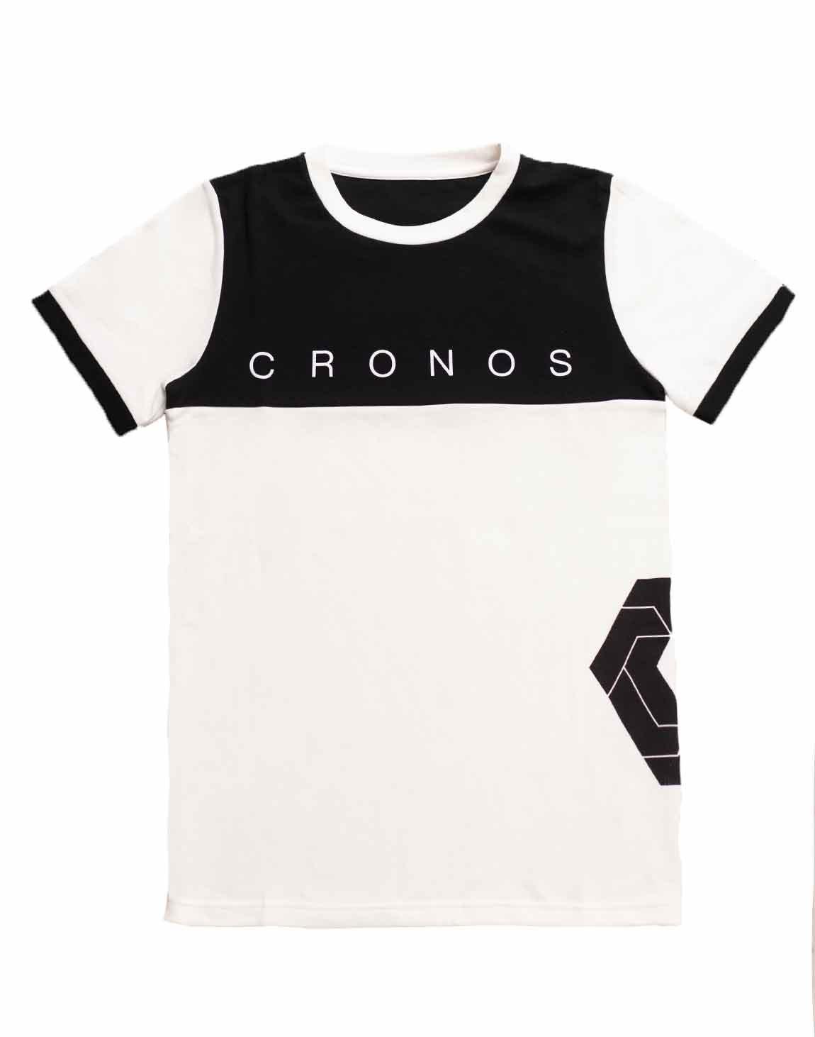 CRONOS Bi-COLOR SIDE LOGO T-SHIRTS【WHITE×BLACK】