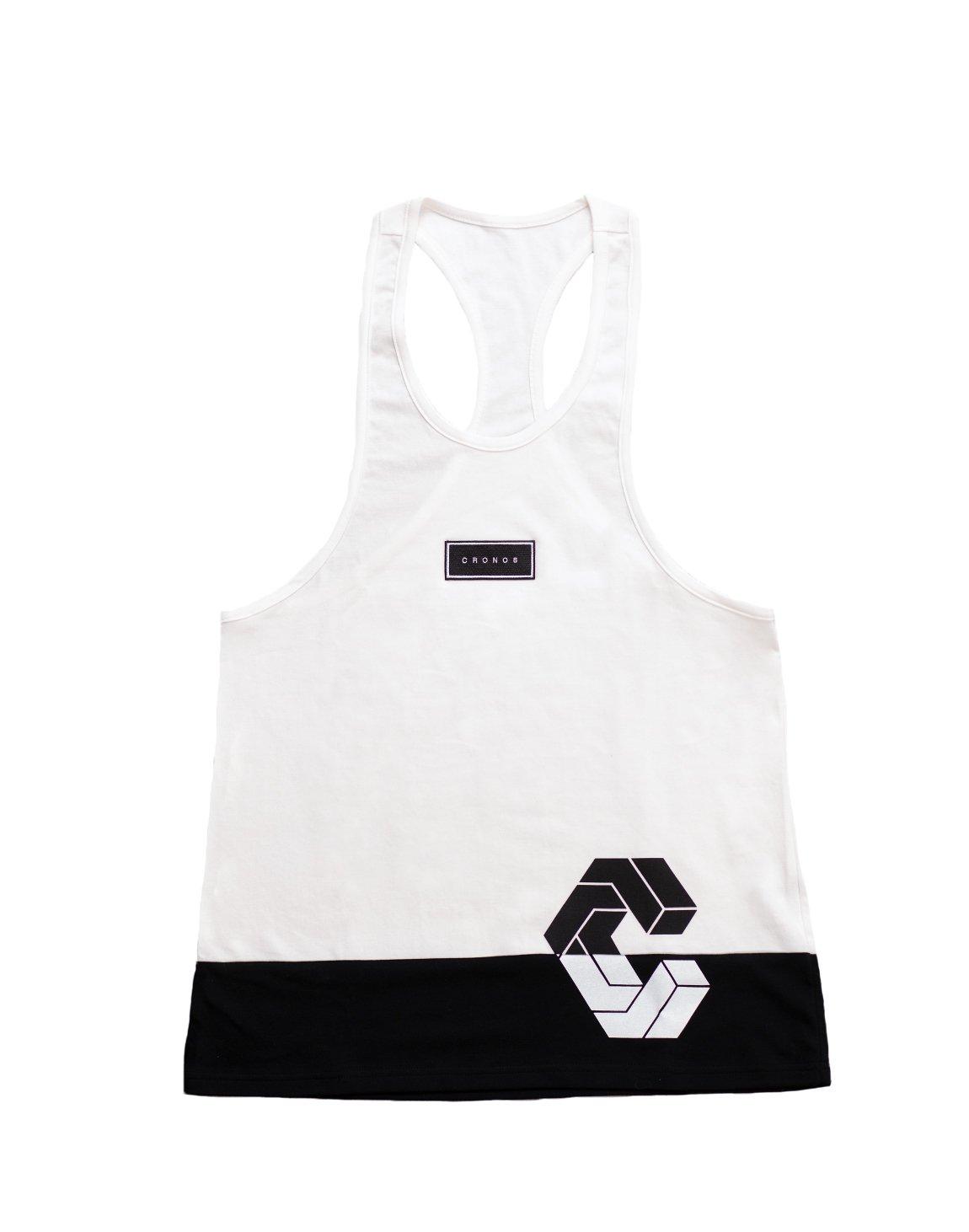 CRONOS BOX MODE SIDE LOGO TANK TOP【WHITE×BLACK】