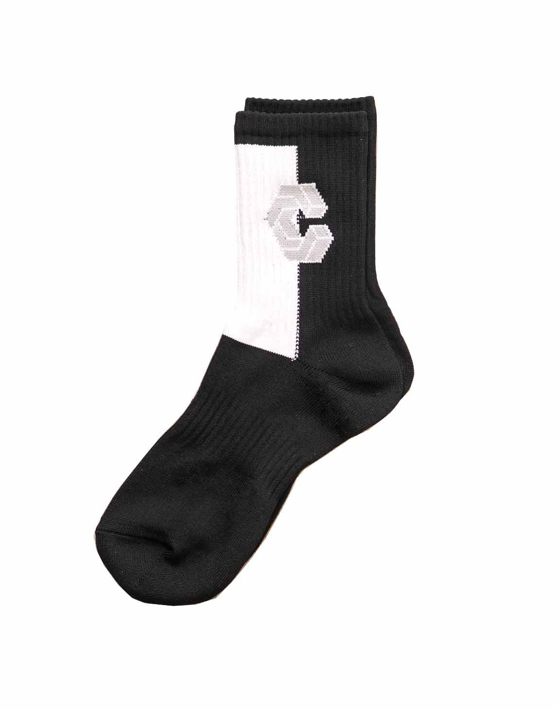CRONOS HALF COLOR SOCKS【BLACK】