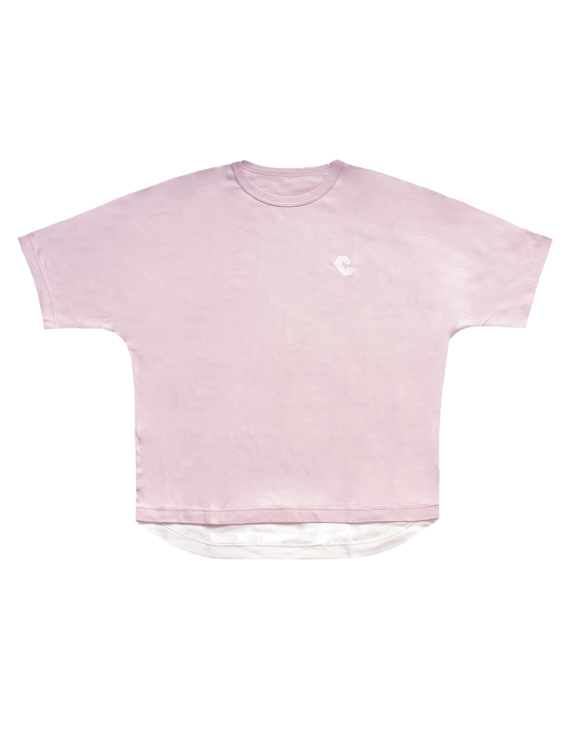 LAYERED LOOK  OVER SIZE T-SHIRTS【PINK】