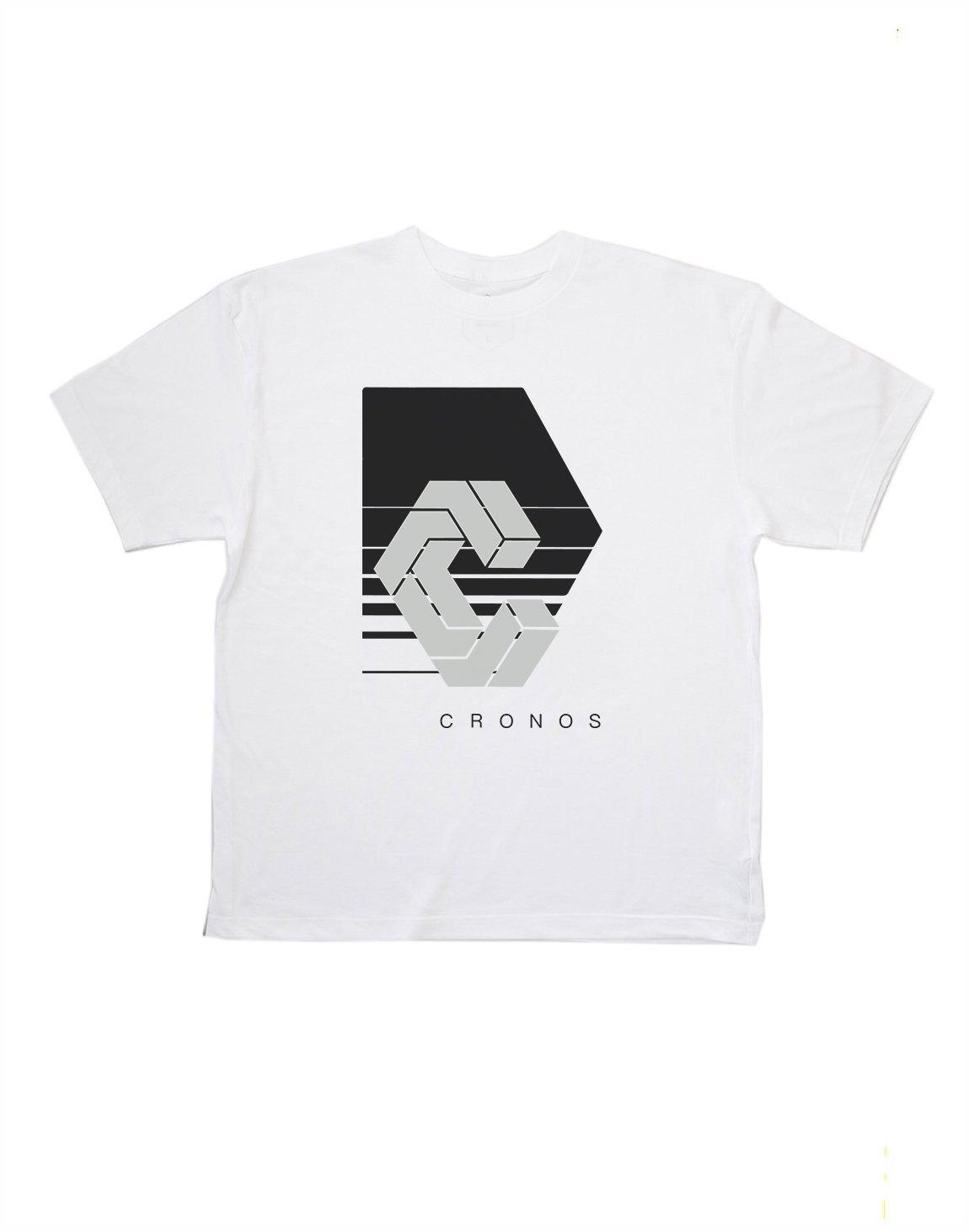 CRONOS REFLECTION LOGO OVER SIZE T-SHIRTS【WHITE】