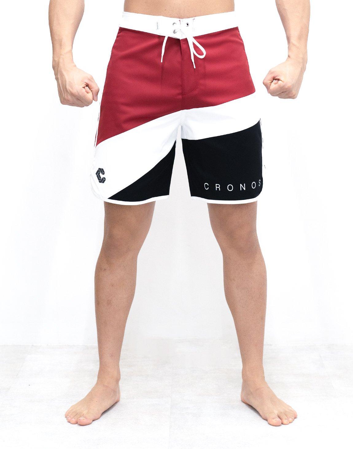 CRONOS THREE COLORS BOARD SHORTS【RED】