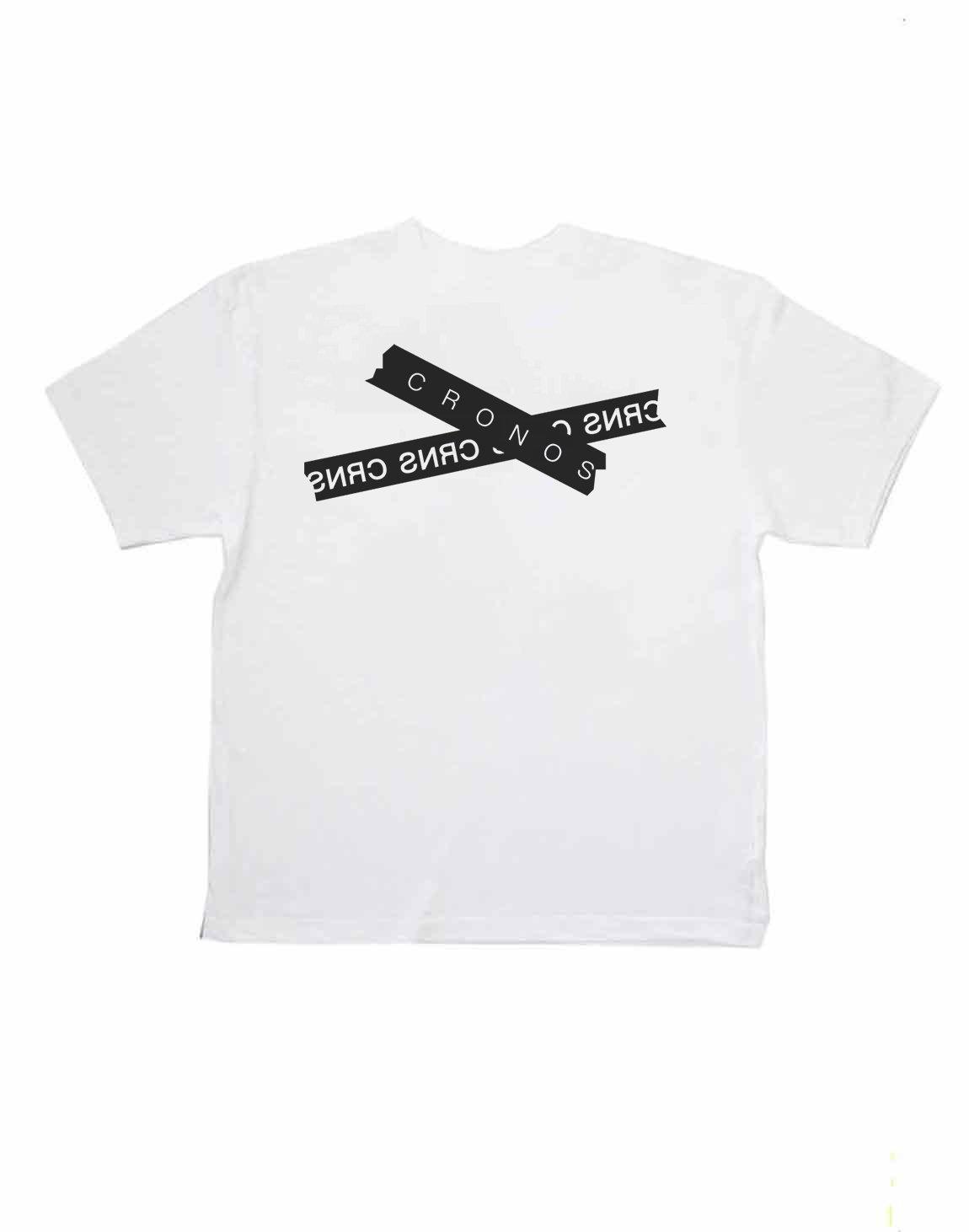 CRONOS TAPE LOGO OVER SIZE T-SHIRTS【WHITE】
