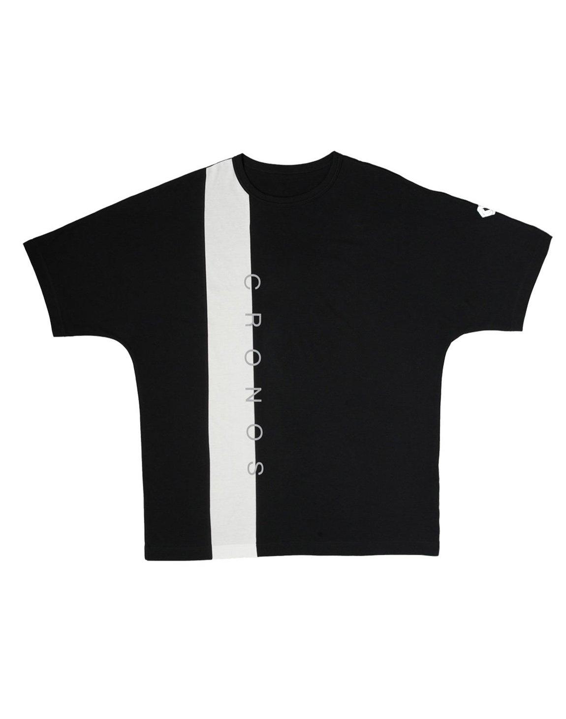 CRONOS VERTICAL LINE OVER SIZE T-SHIRTS【BLACK】