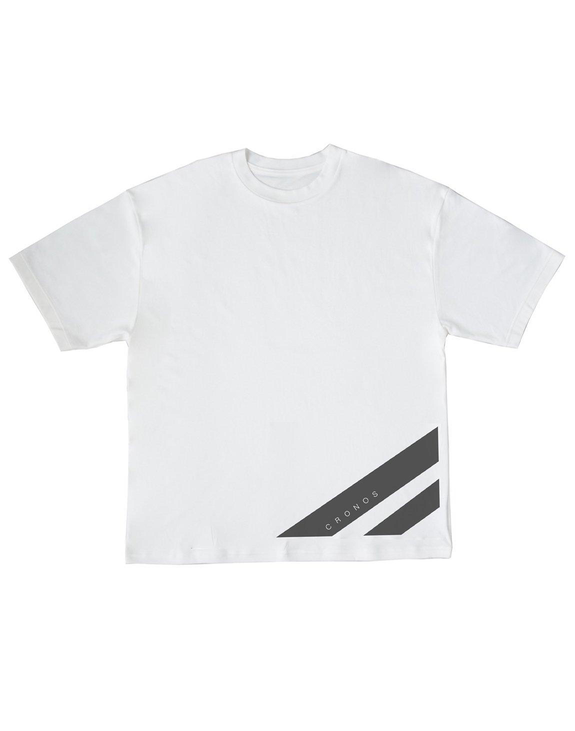 CRONOS STRIPE LOGO NEW OVER SIZE T-SHIRTS【WHITE】