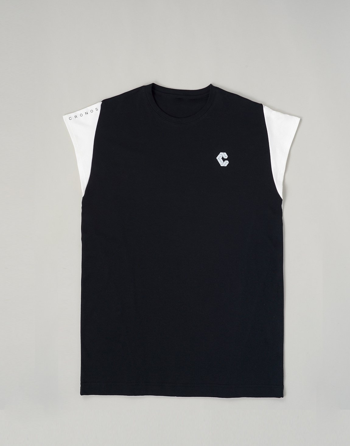 CRONOS LATS LINE CAP SLEEVE TOP【BLACK】