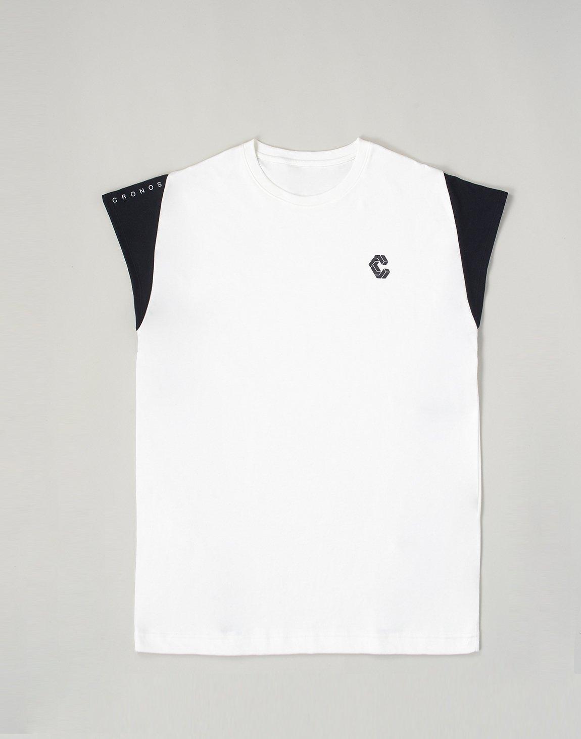 CRONOS LATS LINE CAP SLEEVE TOP【WHITE】