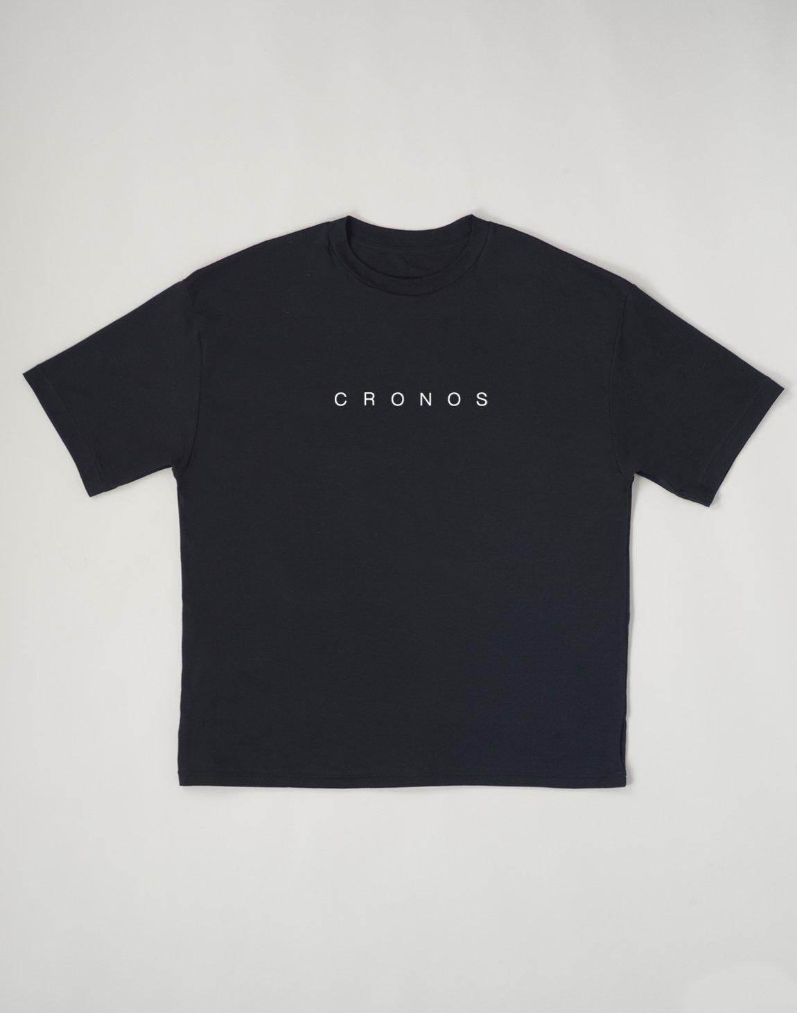 CRONOS NEW FONT LOGO OVER SIZE T-SHIRTS【BLACK】