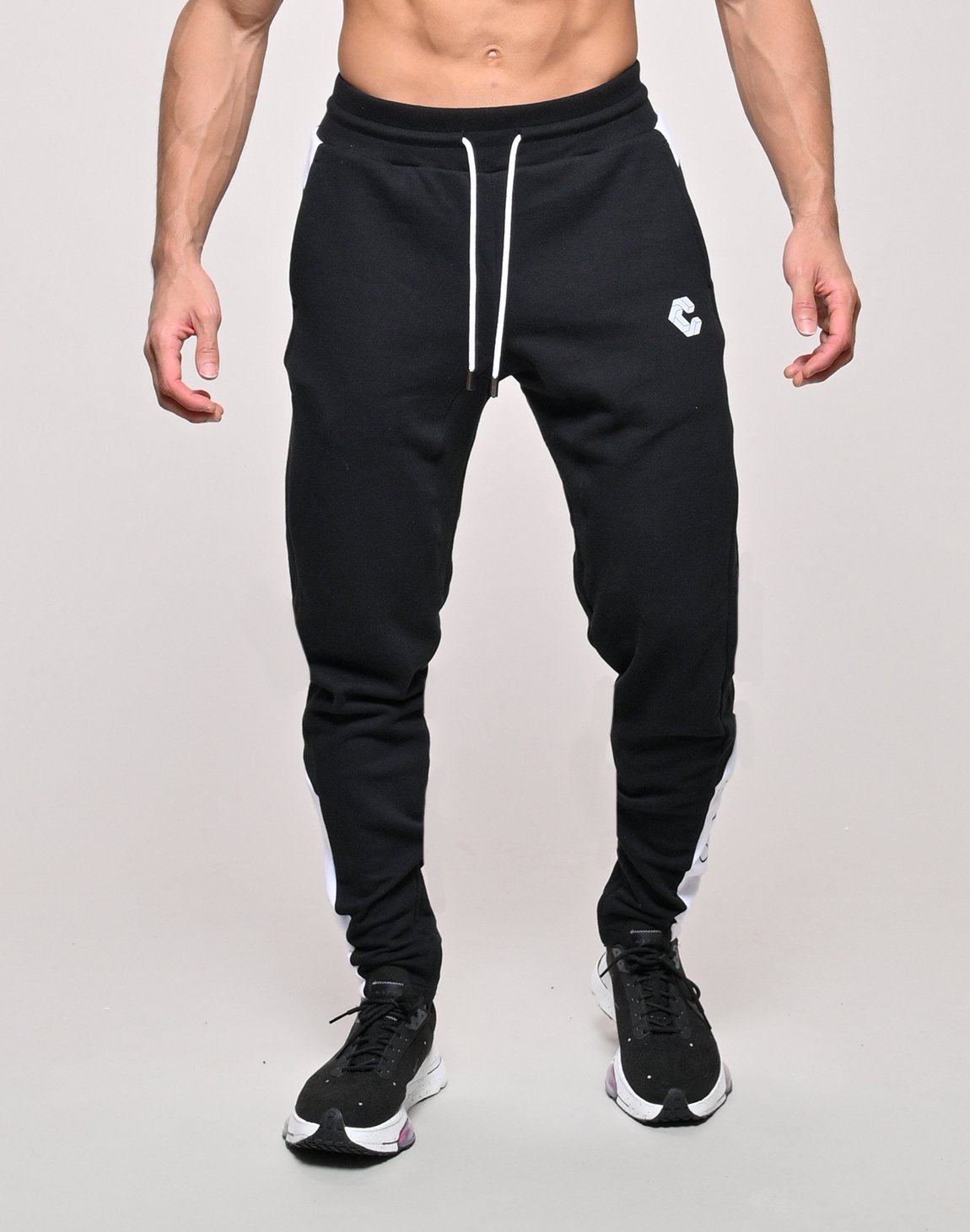 CRONOS SIDE CALF LOGO SWEAT PANTS【BLACK×WHITE】