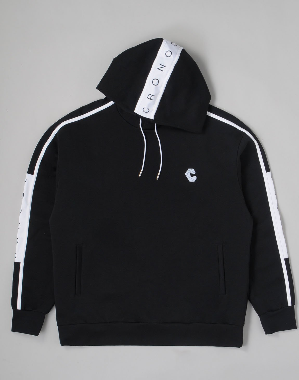 <img class='new_mark_img1' src='https://img.shop-pro.jp/img/new/icons1.gif' style='border:none;display:inline;margin:0px;padding:0px;width:auto;' />CRONOS ARM LINE LOGO HOODIE【BLACKxWHITE】