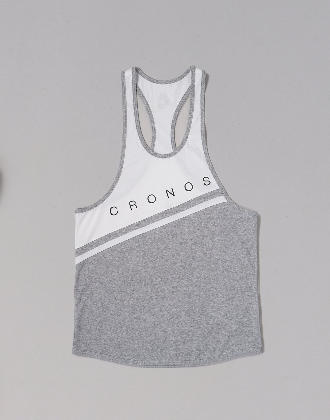<img class='new_mark_img1' src='https://img.shop-pro.jp/img/new/icons1.gif' style='border:none;display:inline;margin:0px;padding:0px;width:auto;' />CRONOS Bi-COLOR LINE TANKTOP【GRAY】