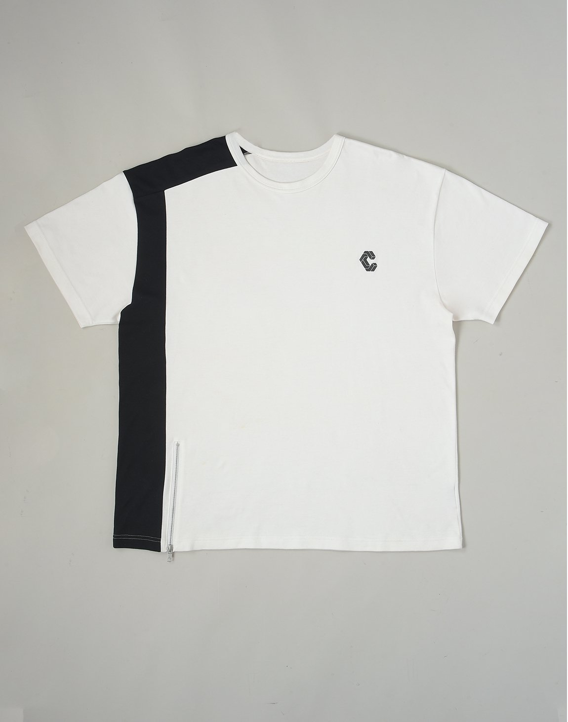 CRONOS HEM LINE ZIP T-SHIRTS【WHITE】