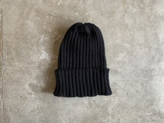 cotton rib knit cap / BLACK