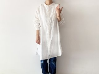 linen grandpa shirt /  WHITE