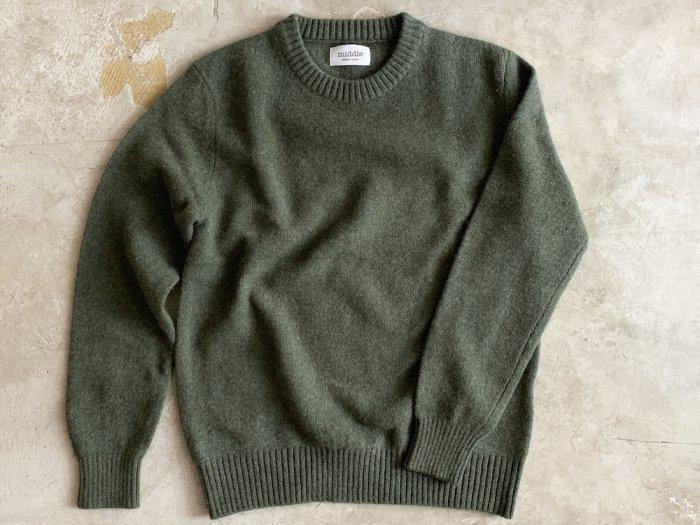wool crew neck sweater / MOSS GREEN