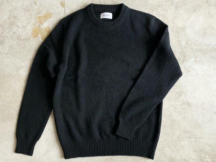 wool crew neck sweater / BLACK