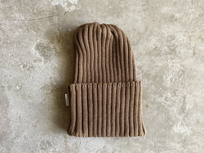 wool rib knit cap / BROWN