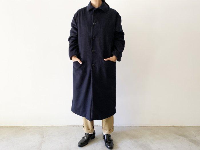 wool flannel overcoat / NAVY