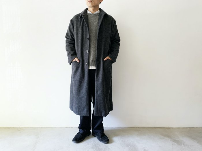 wool flannel overcoat / GREY