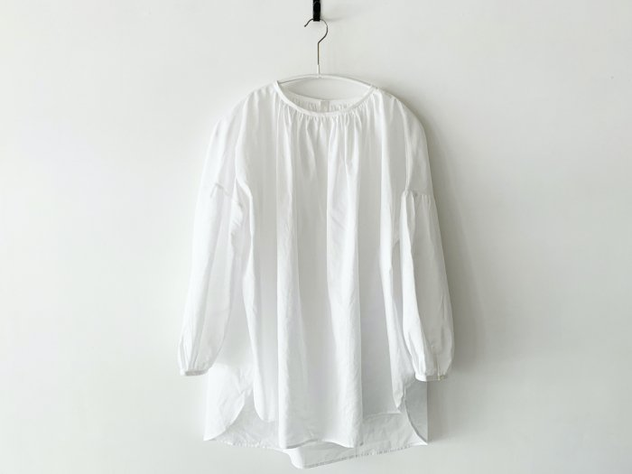 lawn gather blouse/ WHITE