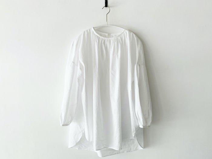 lawn gather blouse/ WHITE