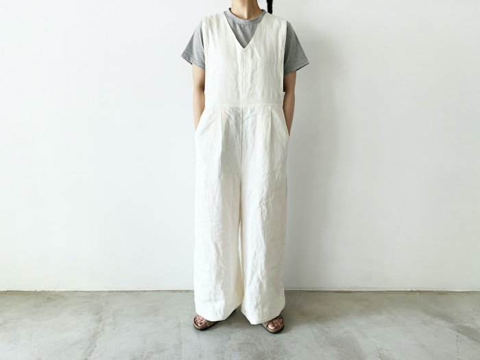 <img class='new_mark_img1' src='https://img.shop-pro.jp/img/new/icons56.gif' style='border:none;display:inline;margin:0px;padding:0px;width:auto;' />linen overalls / OFF WHITE
