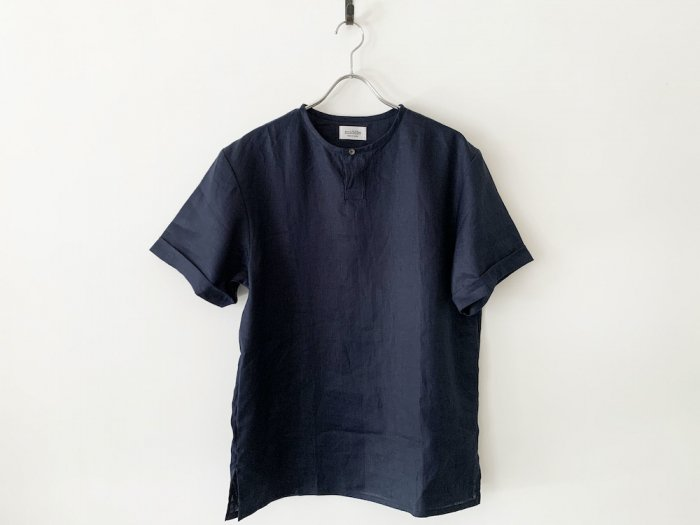 linen short sleeve kurta/  NAVY