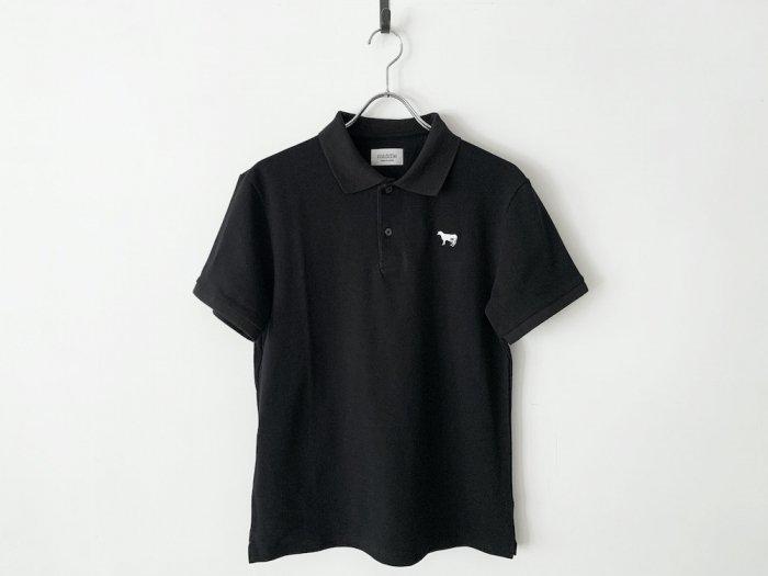 cotton pique polo shirt / BLACK