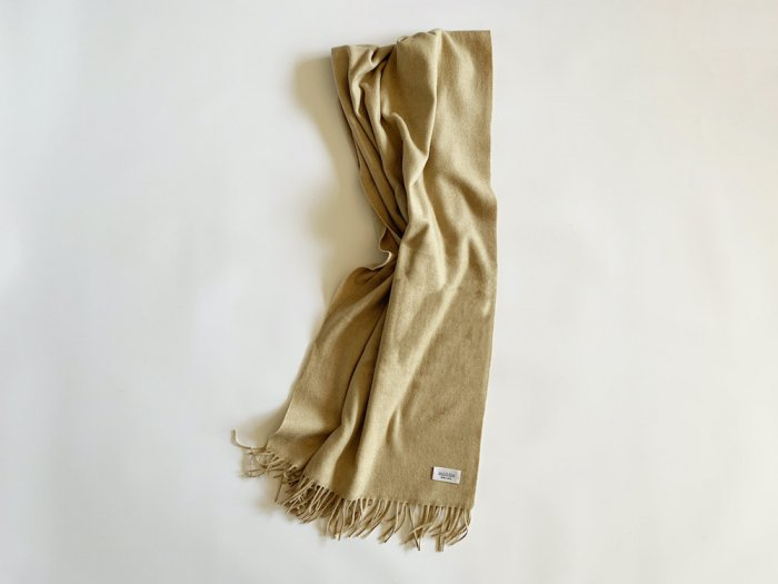wool cashmere big shawl  /  BEIGE
