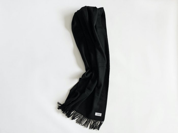 wool cashmere big shawl  /  BLACK