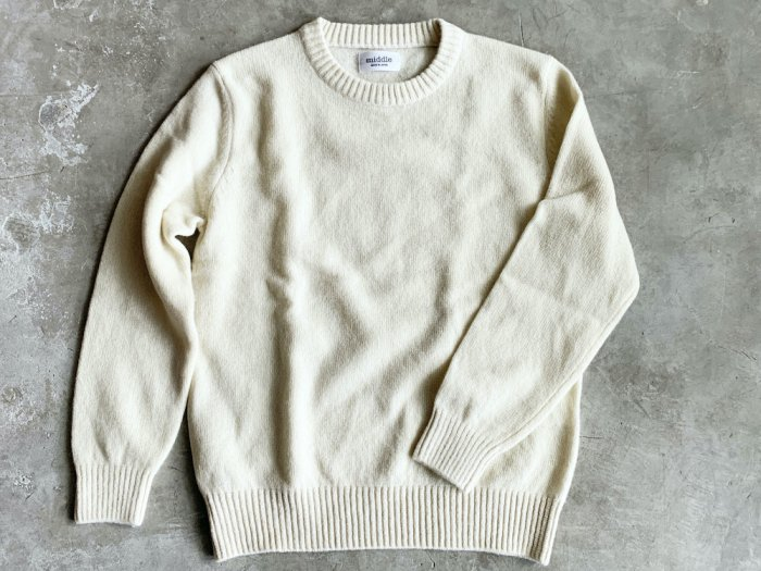 wool crew neck sweater / OFF WHITE