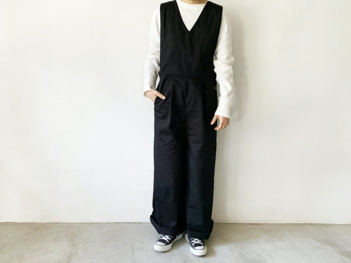 <img class='new_mark_img1' src='https://img.shop-pro.jp/img/new/icons8.gif' style='border:none;display:inline;margin:0px;padding:0px;width:auto;' />cotton twill overalls  / BLACK