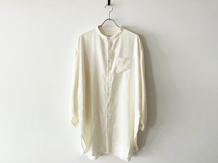 linen grandpa shirt /  OFF WHITE