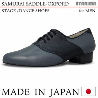 ステージシューズ ダンスシューズ【SAMURAI SADDLE-OXFORD】【日本製】【男性用】【灰色×黒/グレー×ブラック】【プロフェッショナル仕様】【特注品】【納期1〜2ヶ月】<img class='new_mark_img2' src='https://img.shop-pro.jp/img/new/icons61.gif' style='border:none;display:inline;margin:0px;padding:0px;width:auto;' />
