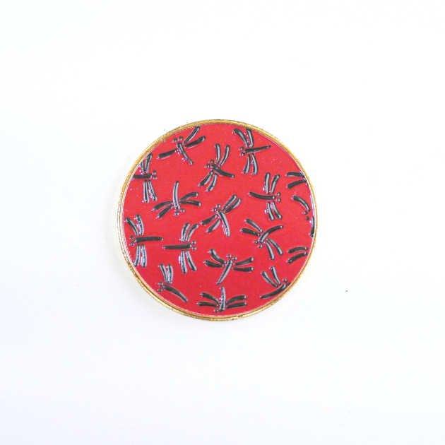 記念メダル トンボ柄 赤×黒