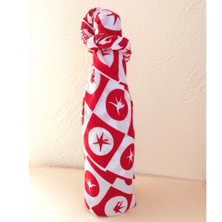 【手ぬぐい包装】有機トマトジュース1本:手ぬぐい柄「トマト格子」