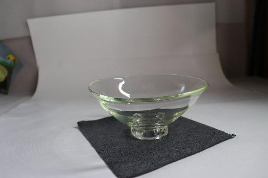 耐熱吹きガラス 透明 平茶碗