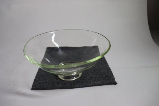耐熱吹きガラス 透明 平茶碗【画像2】