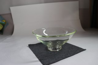 工芸ガラス 耐熱吹きガラス 透明 平茶碗